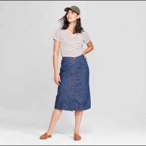 Universal Thread Denim Midi Skirt Buttons Jean